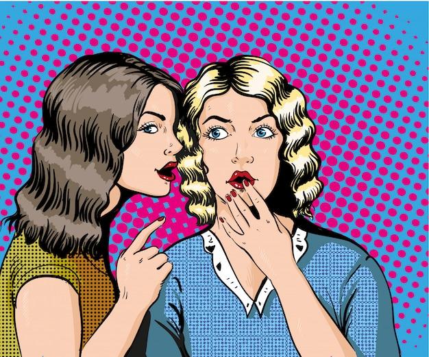 Frau, die ihrem freund klatsch oder geheimnis flüstert