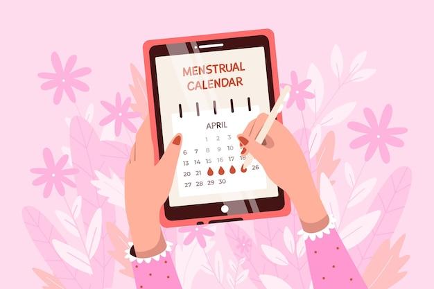 Frau, die ihren menstruationskalender überprüft