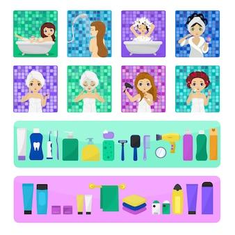 Frau, die im badezimmervektor schönes mädchencharakter wäscht, der im badillustrationssatz wäscht
