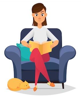 Frau, die im bequemen lehnsessel sitzt und ein buch liest