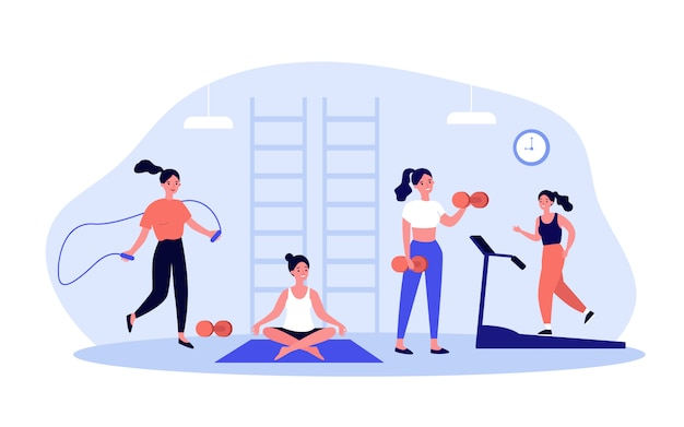 Frau, die im fitnessclub oder im fitnessstudio trainiert