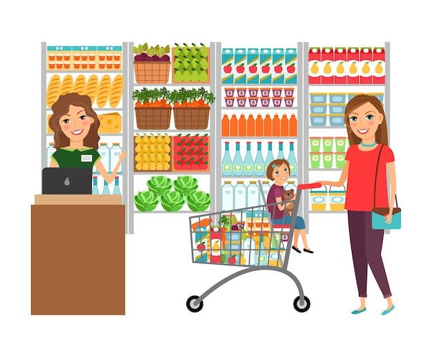 Frau, die im lebensmittelgeschäft einkauft. kundenmarkt, verkaufssupermarkt, kassierer und einzelhandel, vektorillustration