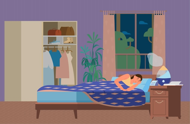 Frau, die im schlafzimmer mit luftbefeuchter arbeitet, der arbeitet. gesunder schlaf. flache illustration.