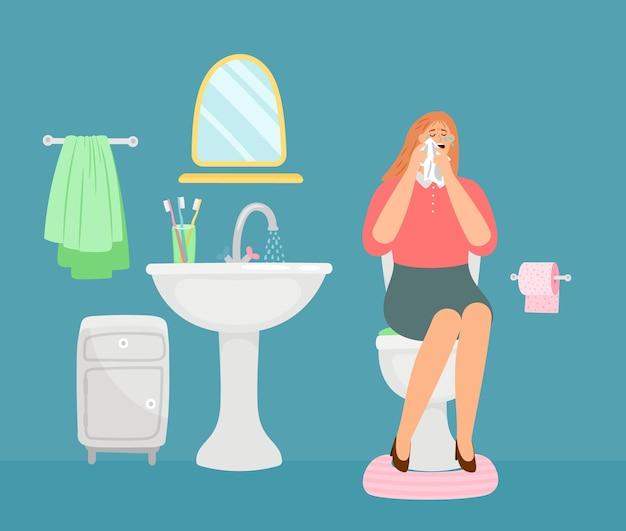 Frau, die im toilettenraum weint.