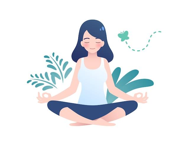 Frau, die in der friedlichen naturillustration, im yoga und im gesunden lebensstilkonzept, im flachen karikaturentwurf meditiert.
