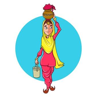 Frau, die in der hand einen topf auf kopf und einen kasten trägt.