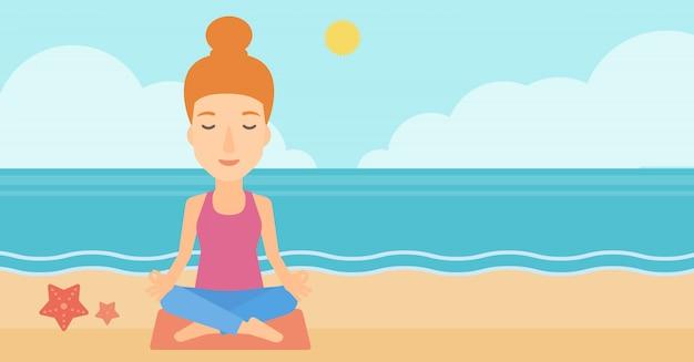 Frau, die in der lotoshaltung meditiert.