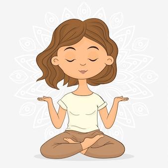 Frau, die in der lotoshaltung meditiert