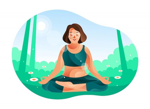 Frau, die in der natur mit yoga-position meditiert