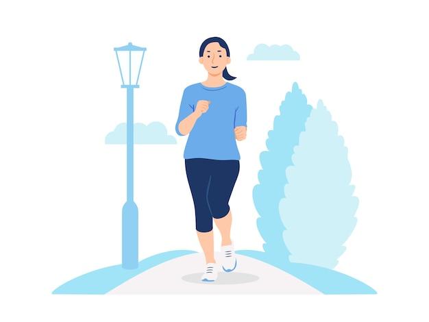 Frau, die in der parkkonzeptillustration joggt