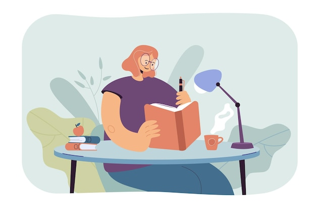 Frau, die in notizbuch schreibt. studentin liest buch und macht sich notizen. karikaturillustration