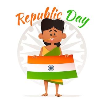 Frau, die indische tag der republik-fahne hält