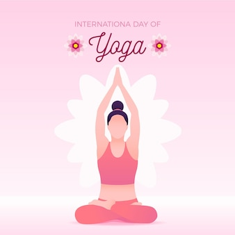 Frau, die internationalen yoga-tag ausübt