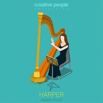 Frau, die isometrische vektorillustration der harfe spielt.