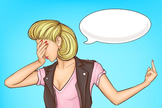 Frau, die jemand weg vom karikaturvektorkonzept leicht schlägt