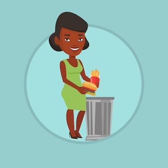 Frau, die junk-food-vektorillustration wirft.