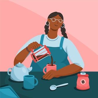 Frau, die kaffee in tasse gießt