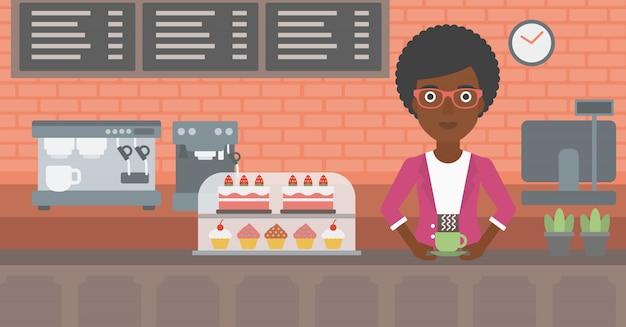 Frau, die kaffee macht.