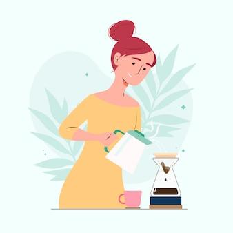 Frau, die kaffee mit maschine kocht