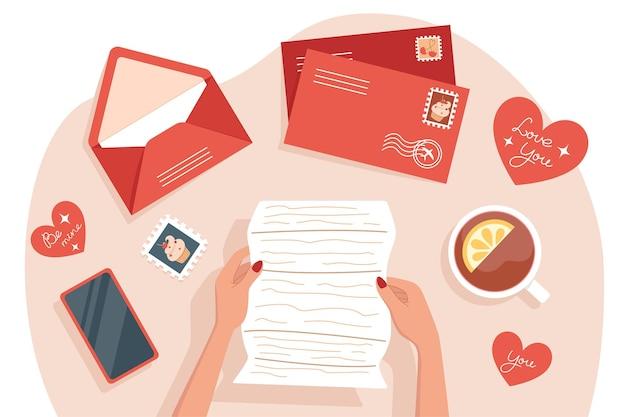 Frau, die karten und briefe für valentinstag, tischansicht empfängt und sendet