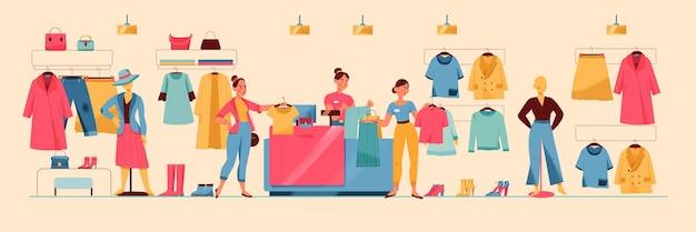 Frau, die kauf in der flachen illustration des bekleidungsgeschäfts macht