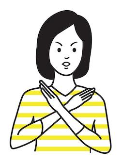 Frau, die kein handzeichen oder x-symbol macht