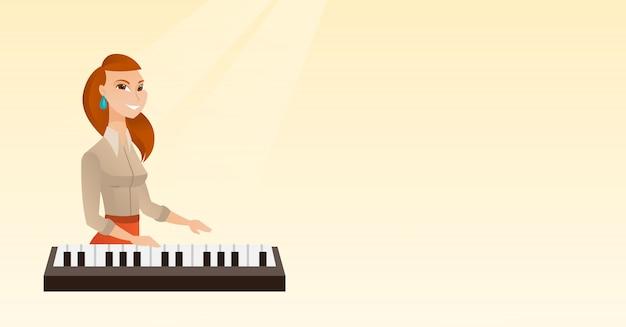 Frau, die klavier spielt