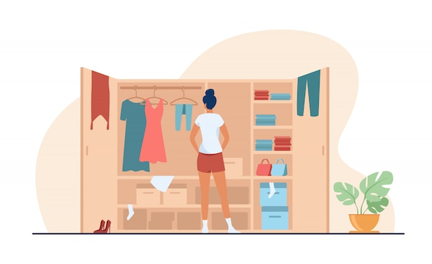 Frau, die kleid von der flachen illustration des kleiderschranks wählt