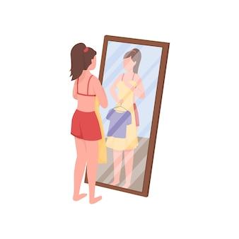 Frau, die kleidung nahe der flachen farbillustration des spiegels auswählt