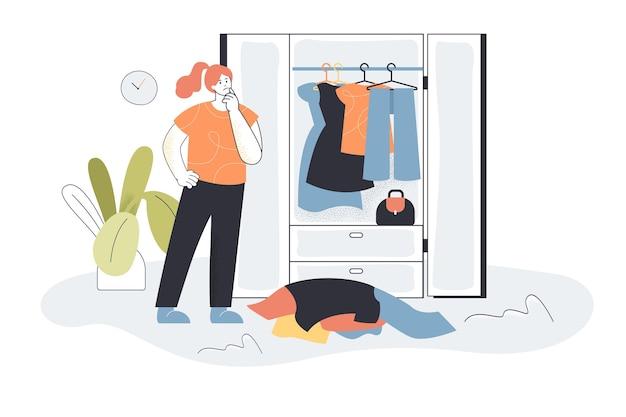 Frau, die kleidung vom kleiderschrank wählt. weibliches charakter-picking-outfit, kleiderstapel, flache illustration des schrankes.