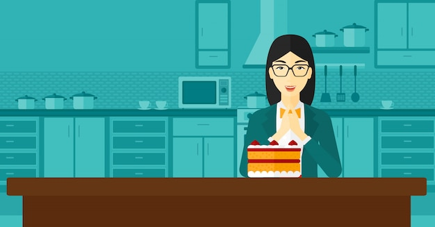 Frau, die kuchen betrachtet.