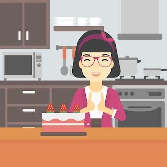 Frau, die kuchen mit versuchung betrachtet.