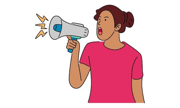 Frau, die lautsprecher hält, der aufmerksamkeit ruft