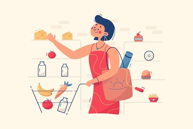 Frau, die lebensmittel in der geschäftsillustration kauft