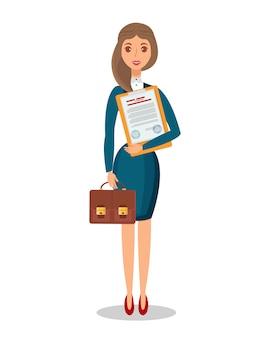 Frau, die legales dokument flach hält