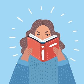 Frau, die lehrbuchikonenvektorillustrationsentwurf liest