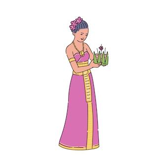 Frau, die loy krathong korb für thailand nationalfeiertag hält. zeichentrickfigur in traditioneller kleidung, die vor der schwebenden zeremonie steht und lächelt - illustration.