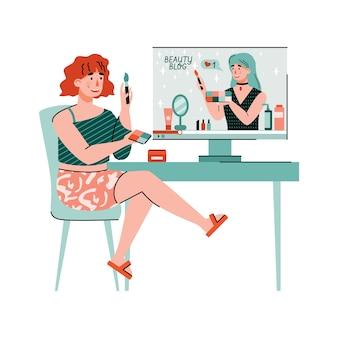 Frau, die make-up-ratschläge vom schönheitsblogger, wohnung beobachtet