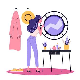Frau, die make-up vor dem spiegel tut. dame im anzug mit rotem lippenstift. schönes mädchen. illustration im cartoon-stil