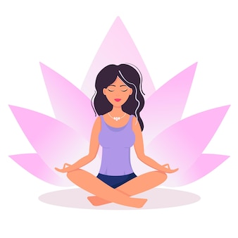 Frau, die meditiert, yoga praktiziert. illustration entspannen, erholung, gesunder lebensstil. vektorillustration im flachen cartoon-stil