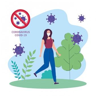 Frau, die medizinische schutzmaske auf naturlandschaft während der covid-19-pandemie verwendet