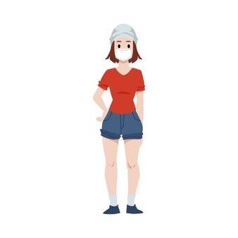 Frau, die medizinische schutzmaske trägt