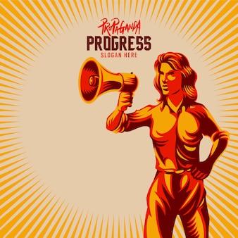 Frau, die megaphon-propaganda-art-illustration hält