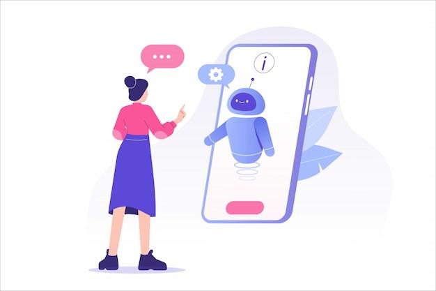 Frau, die mit chatbot in einem großen smartphonebildschirm spricht