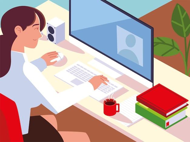 Frau, die mit computerbüchern auf der schreibtischarbeitsplatzillustration arbeitet