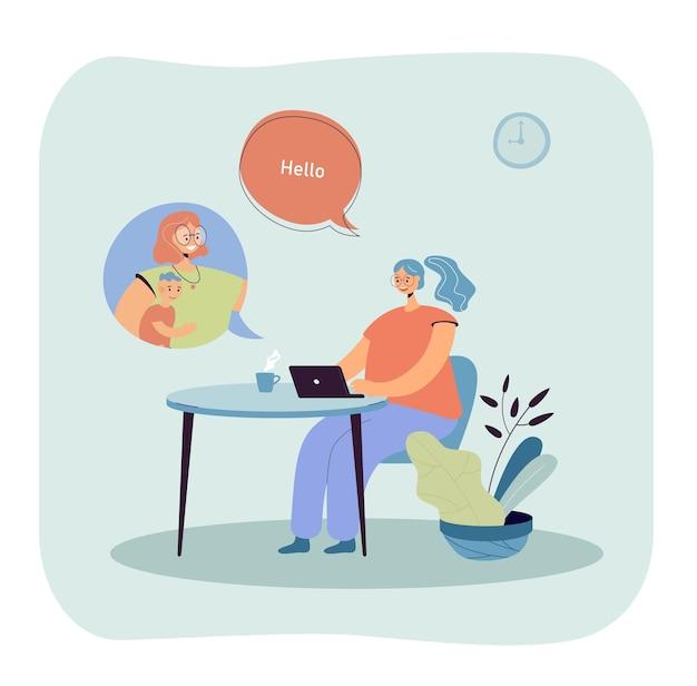 Frau, die mit einem freund oder kollegen über einen online-dienst auf einem laptop spricht