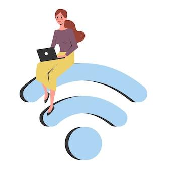 Frau, die mit einem laptop-computer auf dem wifi-symbol sitzt. idee der globalen technologie und des netzwerks. illustration