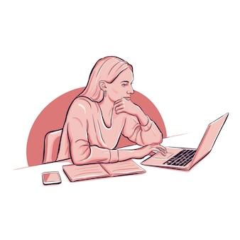 Frau, die mit einem laptop smartphone und notizbuch arbeitet