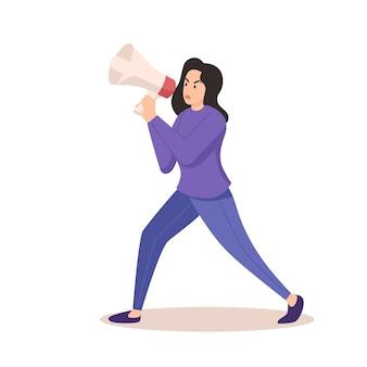 Frau, die mit einem megaphon schreit