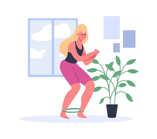 Frau, die mit fitnessgummibändern trainiert.